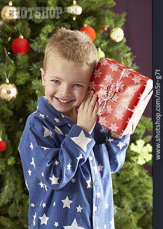 Boy, Expectant, Christmas Present