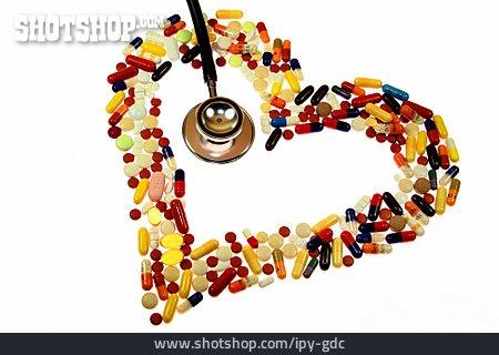 Pill, Stethoscope, Cardiac, Addicted To Pills