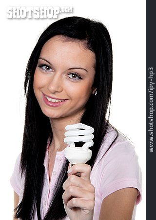 Young Woman, Electricity, Energy Saving Lamp