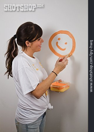 Young Woman, Smiley, Painting, Redecoration