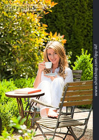 Woman, Garden, Coffee Time