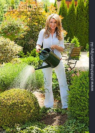 Woman, Gardening, Watering
