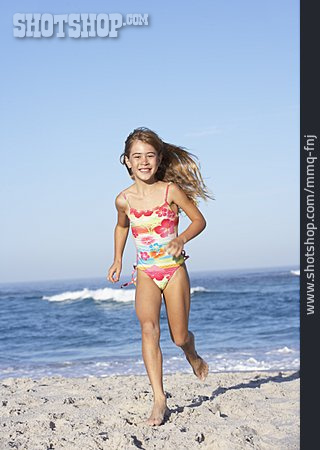 Girl, Running, Beach Holiday
