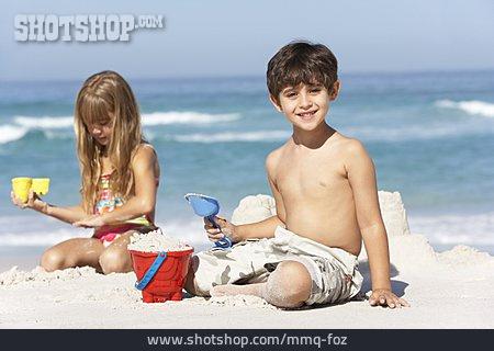 Boy, Girl, Beach Holiday, Sand Toys