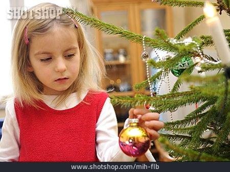 Girl, Decorate, Christmas Tree