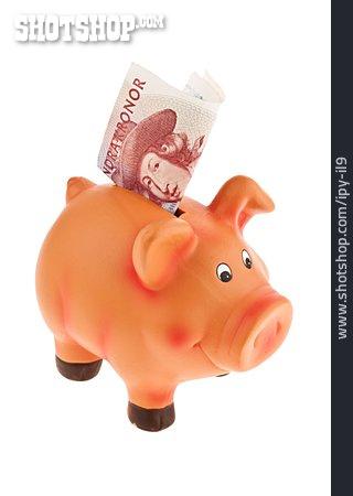 Banknote, Piggy Bank, Swedish Crown