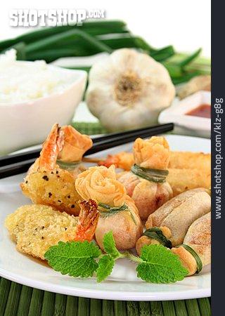 Asian Cuisine, Shrimp Skewers, Dumplings