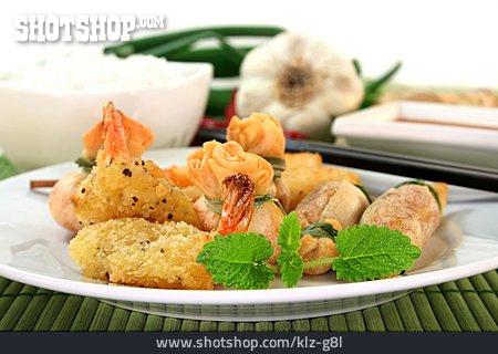 Asian Cuisine, Shrimp Skewers, Dumplings, Dish