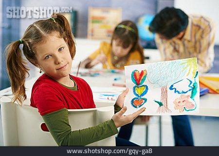 Painting, Present, Schoolgirl