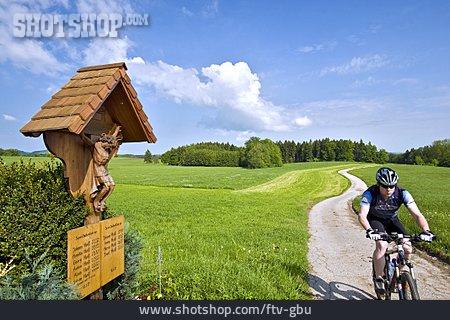 Rural Scene, Cyclists, Cross