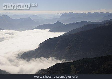 Mountains, Fog, Chiemgau Alps