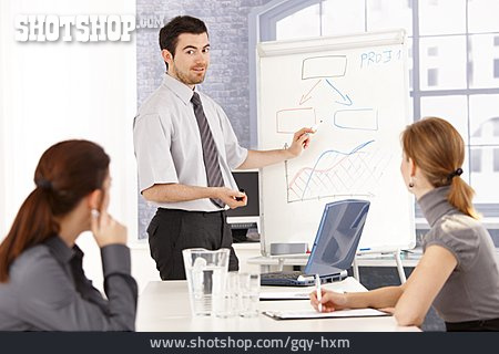 Businessman, Explaining, Present