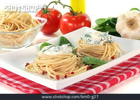 Pasta Dish, Spaghetti, Cheese Spinach Sauce
