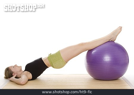 Young Woman, Sports & Fitness, Fitness Ball, Back Exercises