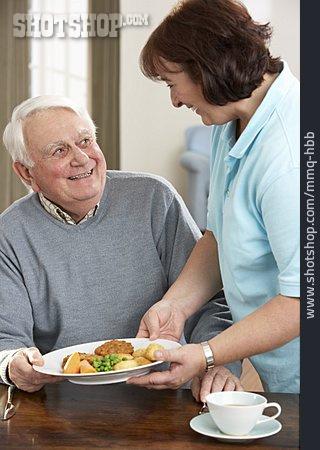 Woman, Senior, Serve