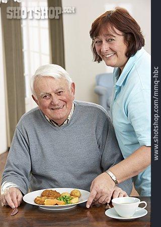 Woman, Senior, Eating & Drinking