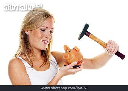Woman, Piggy Bank, Smash, Looting