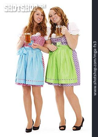 Young Woman, Girlfriend, Oktoberfest, Bavarian, Dirndl