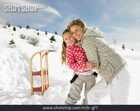 Mother, Embracing, Winter, Daughter