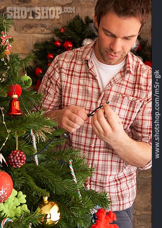 Young Man, Decorate, Christmas Tree