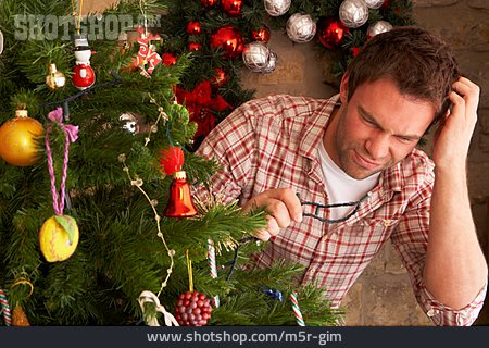 Man, Christmas Lights, Christmas Tree