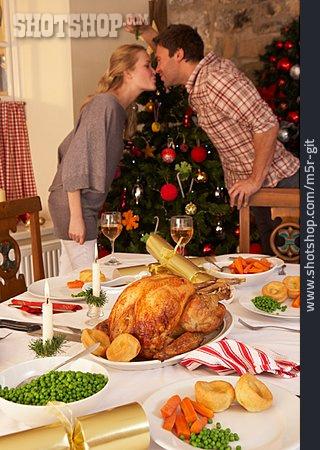 Couple, Kissing, Christmas Dinner, Mistletoe