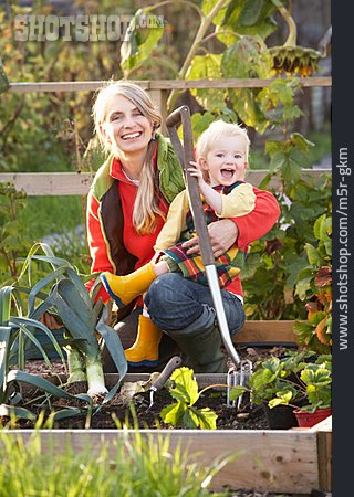 Mother, Gardening, Daughter, Vegetable Garden