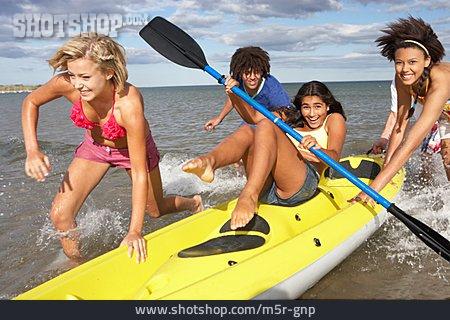 Teenager, Fun & Happiness, Summer, Friends, Kayak, Clique