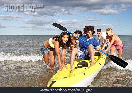 Teenager, Summer, Together, Kayak, Clique