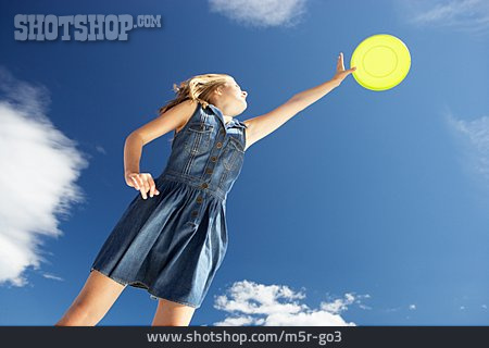 Teenager, Teenager, Young Woman, Dynamic, Frisbee