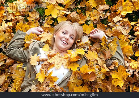 Teenager, Lying, Autumn Leaves