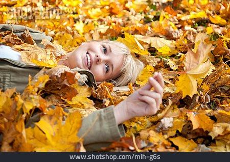 Girl, Resting, Autumn Leaves