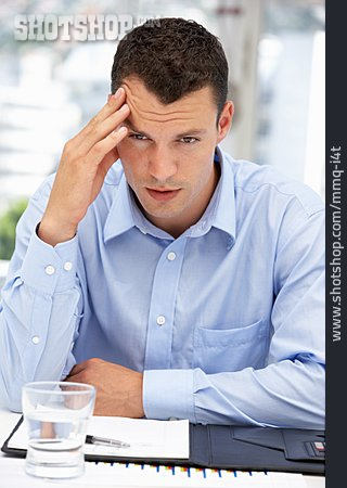Businessman, Thinking, Emotional Stress, Office Assistant