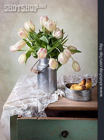 Tulips Bouquet, Flower Vase, Rustic