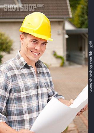 Construction Worker, Construction Manager, Blueprint