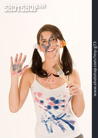 Young Woman, Painted, House Painter
