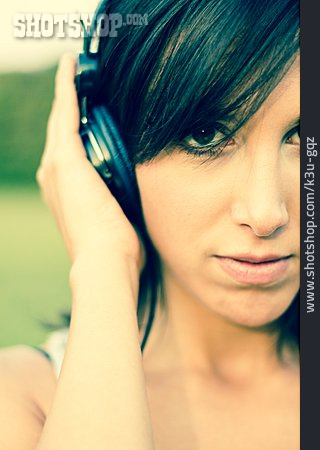 Young Woman, Headphones, Listening Music