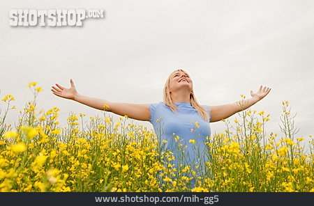 Young Woman, Rape Field, Nature Relation, Arms Raised