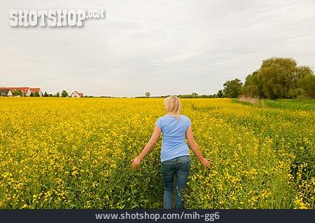 Young Woman, Walk, Rape Field