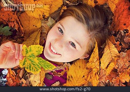 Girl, Autumn Leaves, Autumn