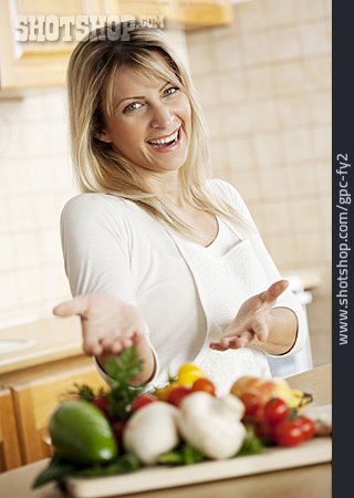 Woman, Vegetable, Cooking, Preparation