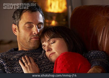 Couple, Sleeping, Security, Snuggle