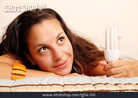 Young Woman, Woman, Energy Saving Lamp
