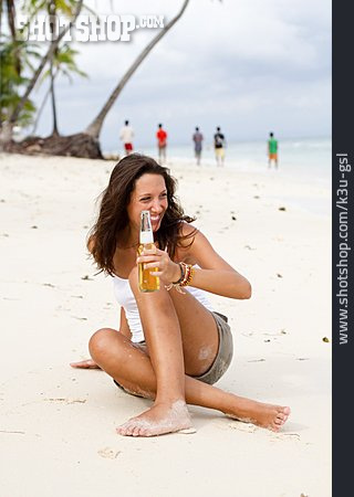 Young Woman, Woman, Enjoyment & Relaxation, Beach, Vacation