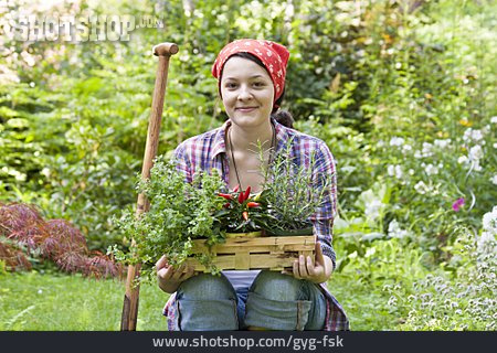 Young Woman, Gardening, Gardener