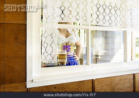 Woman, Retro, Window, Bavaria, Dirndl