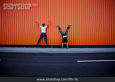 Young Man, Motion, Youth Culture, Gymnastics, Friends