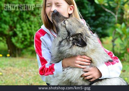 Girl, Embracing, Friendship, Dog