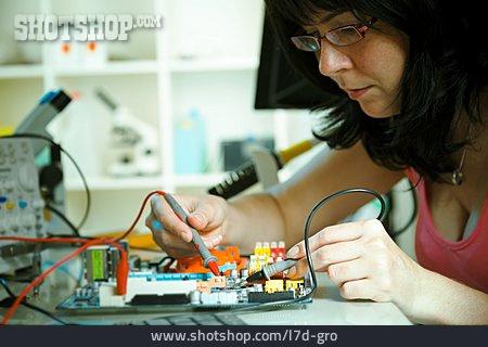 Woman, Circuit Board, Computer Technology