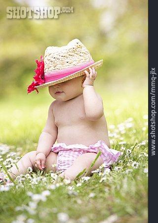 Baby, Summer, Straw Hat